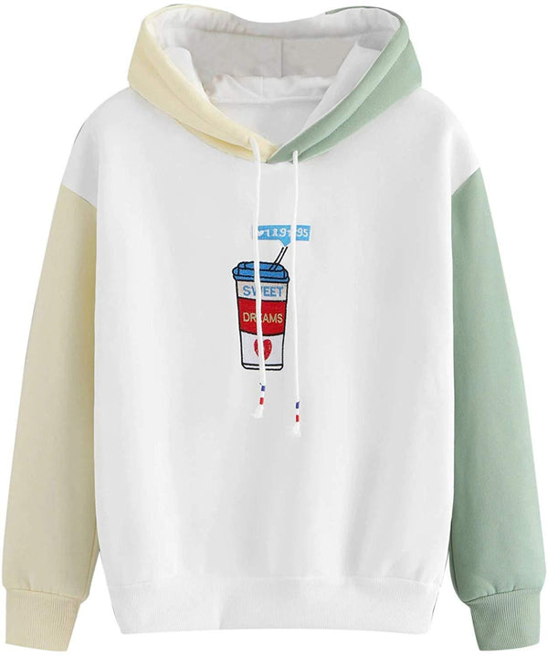 SweatyRocks Womens Long Sleeve Colorblock Pullover Kawaii Hoodie Sweatshirt Tops