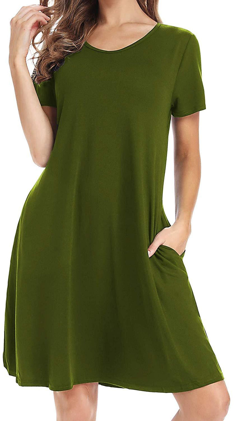 CakCton Womens Cotton Pockets Dress - Long Sleeve Fall Empire Waist Dress/Short Sleeve T-Shirt Swing Dress