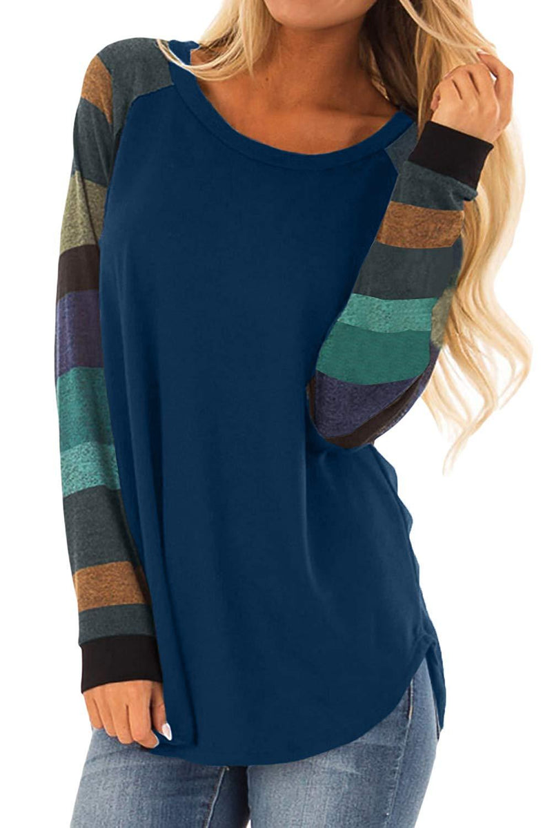 Womens Casual Tunic Sweatshirt Tops Color Block Long Sleeve Loose T Shirt Pullovers