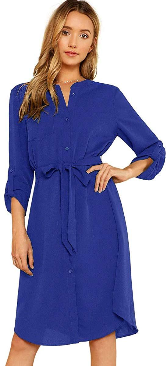 Milumia Women's Roll Tab Sleeve High Waist Belted Shirt Dress with Pocket