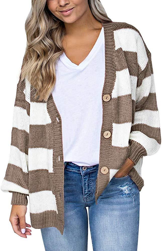 Imily Bela Womens Casual Striped Cardigan Open Front Button Down Cable Knit Loose Sweater