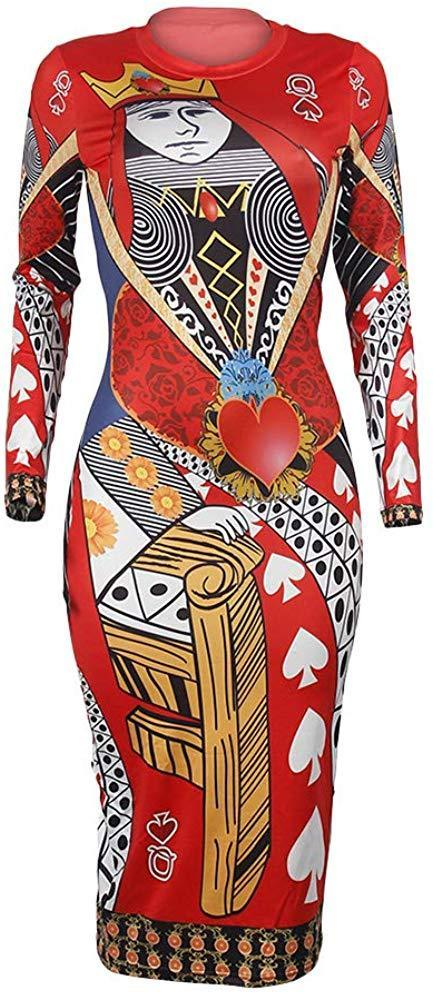 Bodycon Dress Long Sleeve - Sexy Stretch Floral African Print Midi Dresses for Party Club Casual