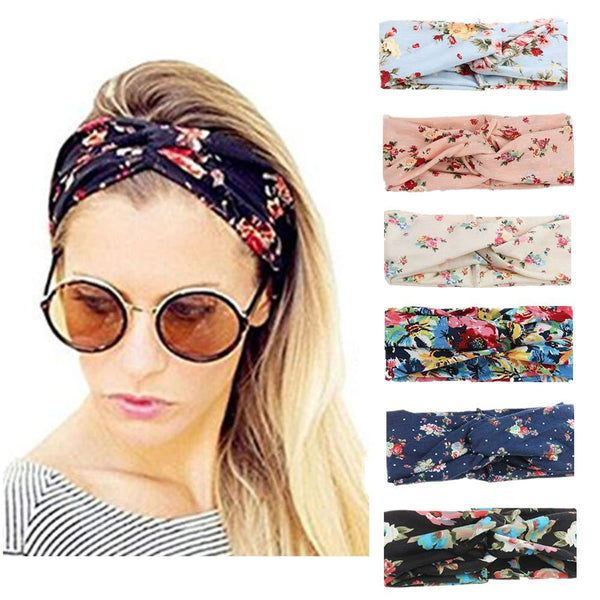 Dlala 6 Pack Women Headbands Elastic Turban Head Wrap Boho Floal Criss Cross Hair Band