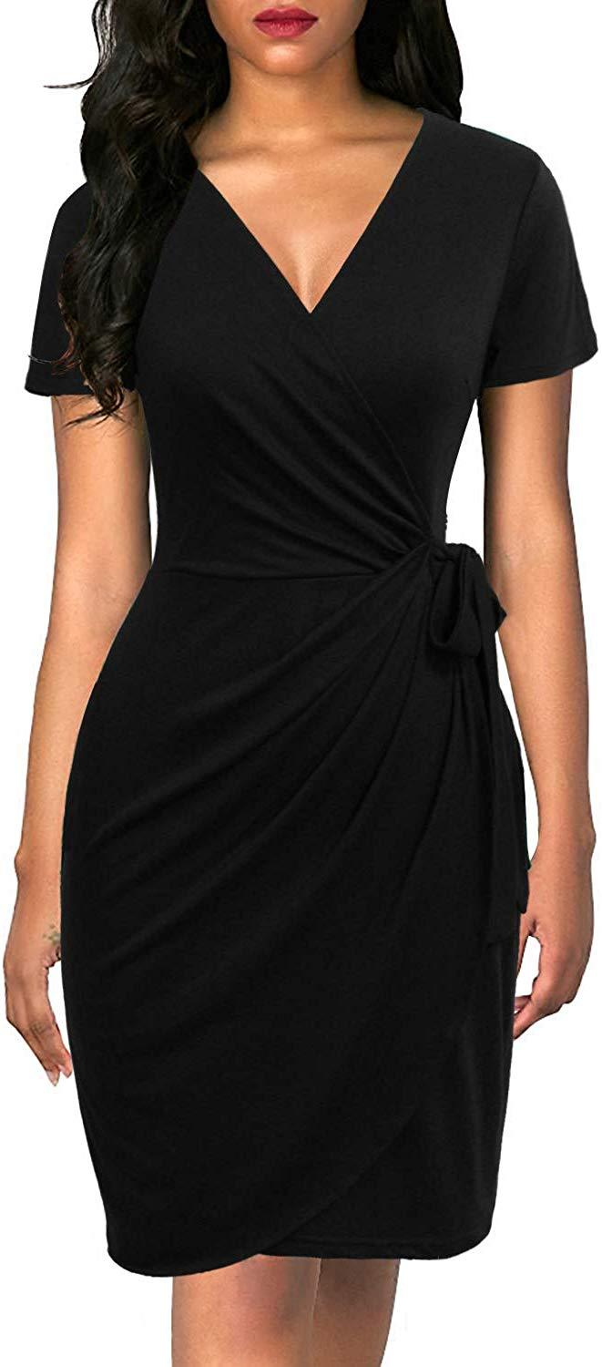 Lyrur Women's Classic V-Neck Casual Party Knee Length Sheath Work Short Sleeve Faux Black Wrap Dress