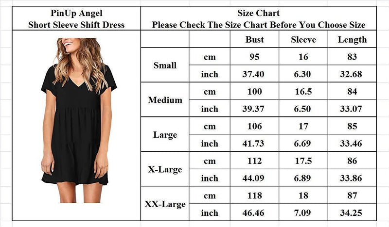 PinUp Angel Women's Short Sleeve Tunic Dress V Neck Loose Flowy Swing Shift Dresses