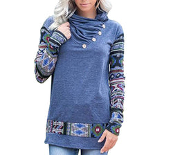 Koitmy Womens Floral Cowl Neck Blouse Long Sleeve Button Casual Tunic Tops