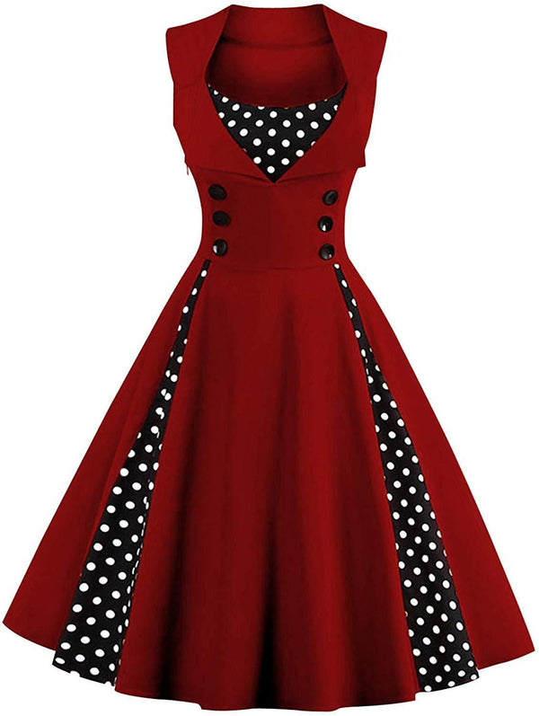 Killreal Women's Polka Dot Retro Vintage Style Cocktail Party Swing Dresses 1