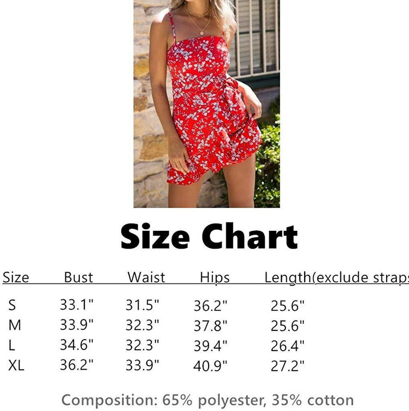 INIBUD Short Dress for Women Wrap Tie Flouncing Retro Polka Dot Floral Print Spaghetti Straps Sleeveless Mini Dress Summer