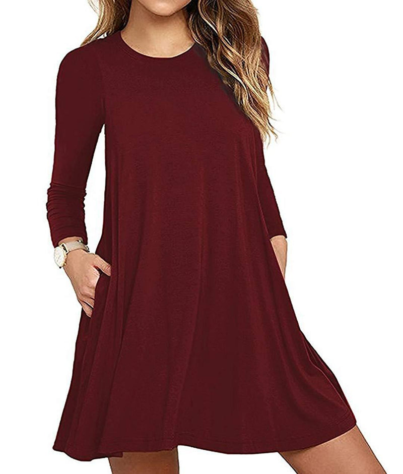 DOMILINA Women's Long Sleeve Pockets Casual Swing T-Shirt Dresses