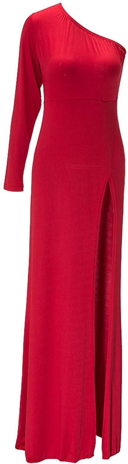 Leezeshaw Womens Sexy Plus Size One Shoulder Long Sleeve High Slits Maxi Dress