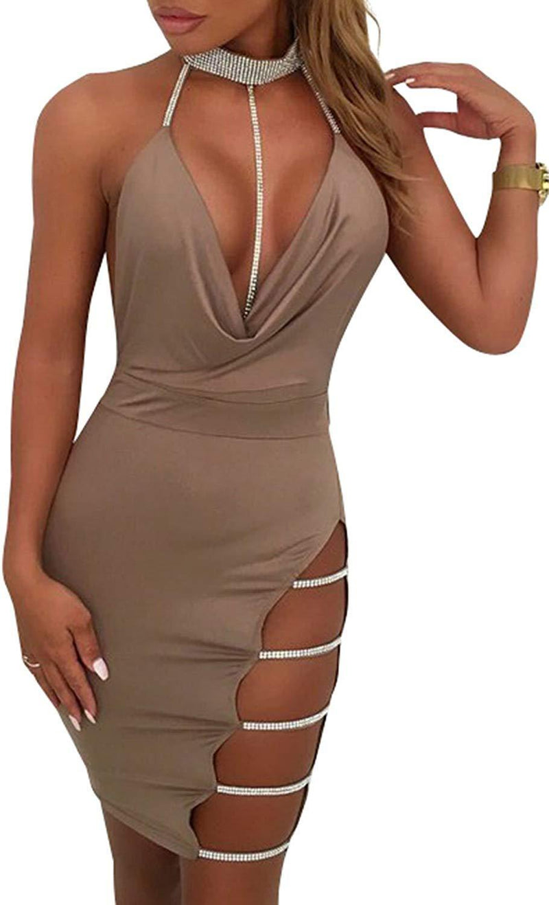 Glamaker Women's Sexy Club Halter Deep V Neck Backless Mini Dress with Slit