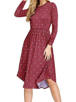 AMCLOS Women Pleated Polka Dot Dress with Pocket Swing Casual U Neck Midi Dress Long Sleeve