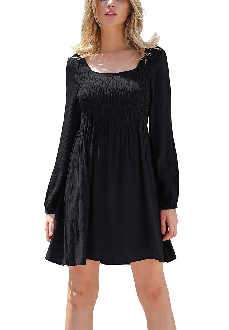 OFEEFAN Women's Dresses Pleated Puff Long Sleeve Square Neck Smocked Dress S-2XL