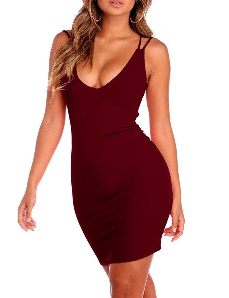 Mokoru Women's Sexy Spaghetti Strap Backless Sleeveless Bodycon Club Mini Dress