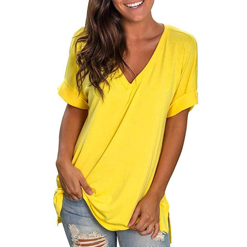 Long Sleeves T Shirt Women Casual Scoop Neck Loose Fit Solid Basic Tee T-Shirt Ladies Side Split Tunic Tops