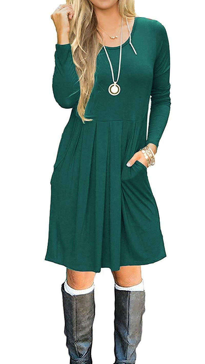Basic Faith Women's Long Sleeve Pleated Loose Swing Casual Dress with Pockets Knee Length