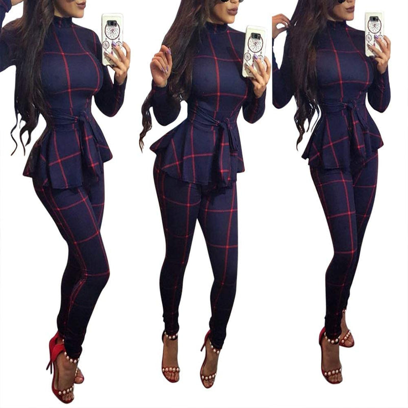Women's Casual One Piece Plaid Striped Bodycon Long Pants Jumpsuits Romper