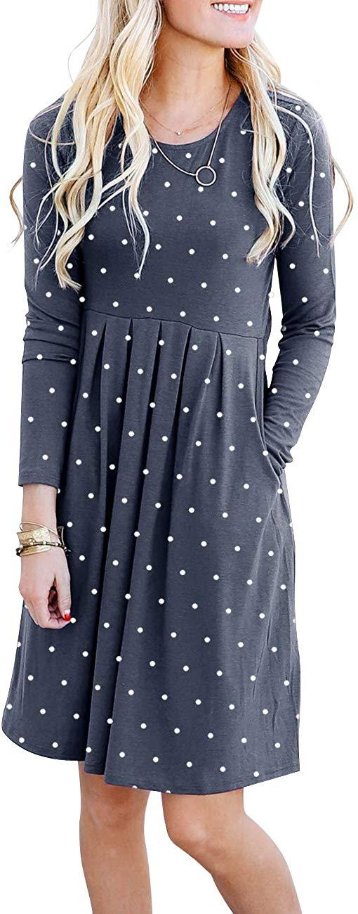 Damissly Women's Polka Dot Tunic Dresses Long Sleeve Pleated Midi Dress Casual Swing Empire Waist Knee Length with Pockets