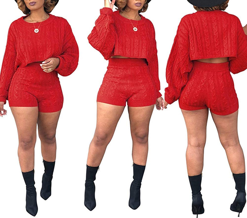 JUNBOON Women's Casual 2 Pieces Outfits Solid Long Sleeve Knitted Sweater Crop Top Bodycon Shorts Tracksuits Set