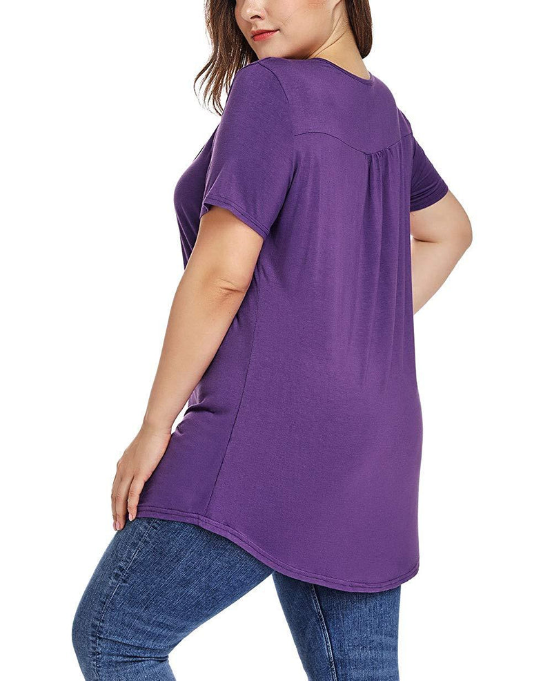 AIguang Plus Size Henley V Neck Shirt Short Sleeve Buttons Up Tunic Tops Casual Pleated Blouse Shirts