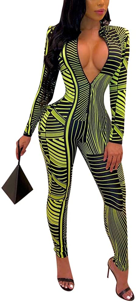 ECHOINE Women's Sexy Bodycon Jumpsuits Zip Up V Neck Long Sleeve Striped One Piece Outfits Rompers Party Clubwear