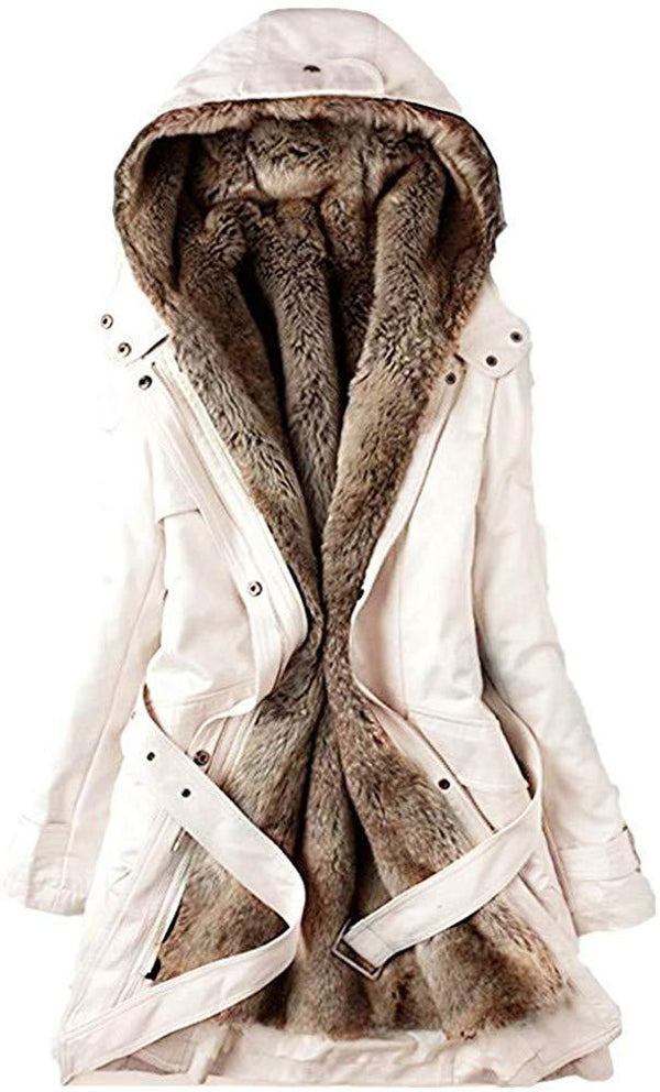 vermers Women Coats Winter, Womens Warm Long Coat Fur Collar Hooded Jacket Slim Parka Outwear