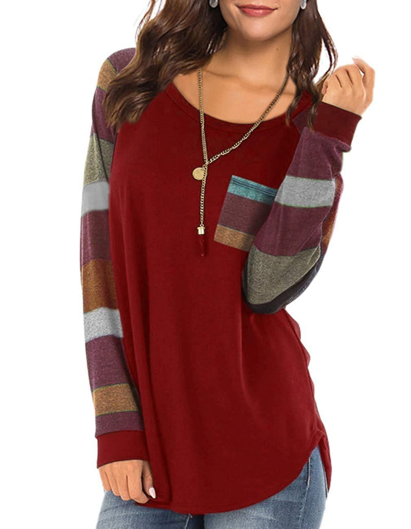 Women's Casual Color Block Long Sleeve Pullover Blouse Round Neck Loose Tunic T Shirt Tops Sweatshirt with Pocket