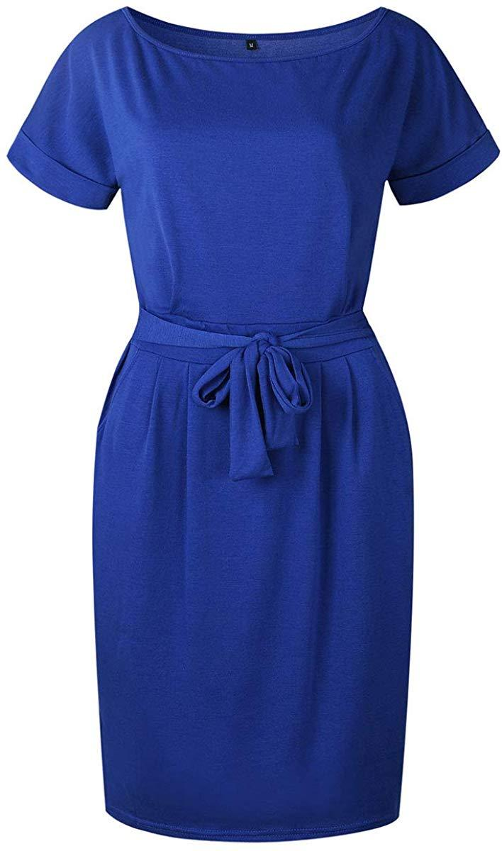 fitglam Women's Casual Summer Floral Dress Short Sleeve Crew Neck Midi Dress with Pockets