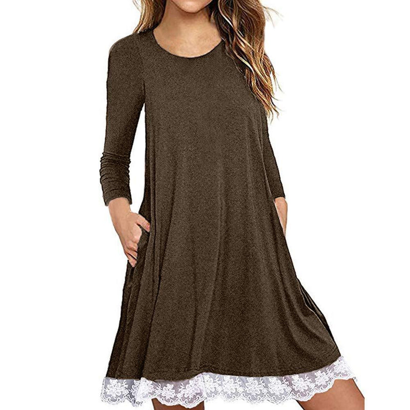 Ulanda Women's Long Sleeve Pockets Loose T-Shirt Dress Casual Swing Floral Lace Dress Plus Size