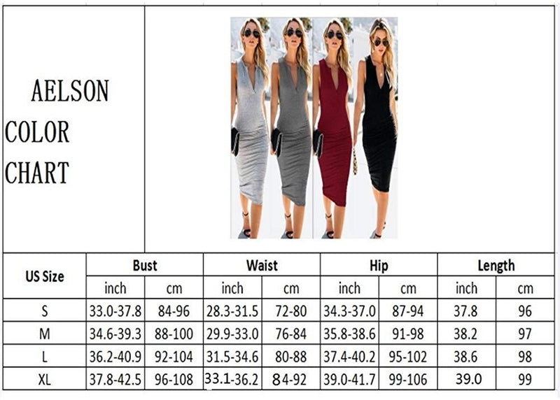 AELSON Women's Sleeveless V Neck Ruched Bodycon Midi Tank Dress