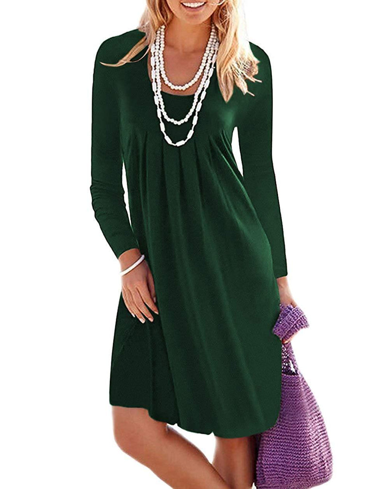 Jouica Women's Casual Long Sleeve Plain Pleated Dresses T-Shirt Dress with Pockets
