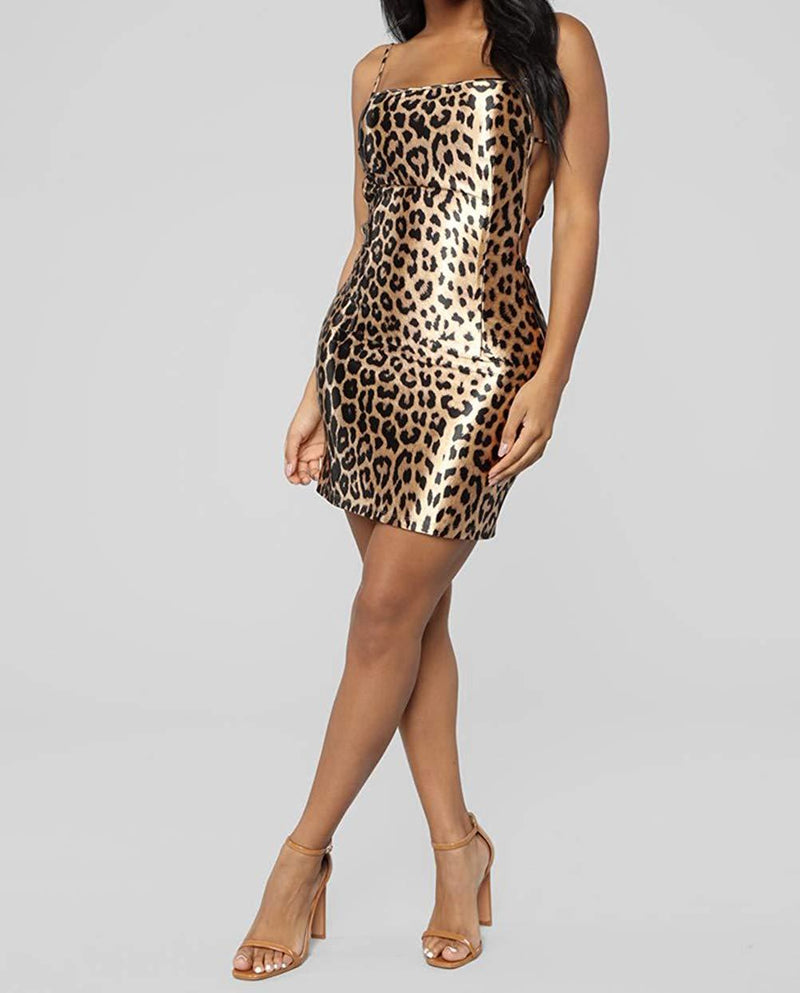Women's Halter Backless Sexy Mini Dress Spaghetti Strap Dress Leopard Bodycon Short Party Dress