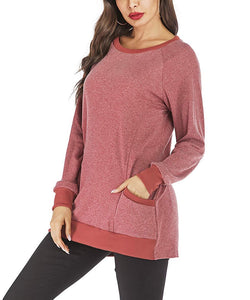 Women's Long Sleeve Solid Color Stitching Loose Casual Tunics Sweatshirts with Pocket Pullover Blouse Tops