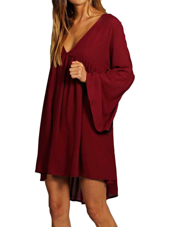 kenoce Women's Long Sleeve Tunic Dress V Neck Loose Swing Casual Short T-Shirt Dresses Summer Mini Dress