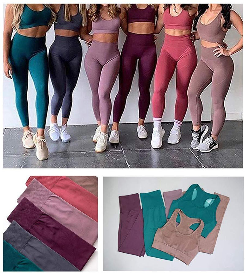 Jetjoy Exercise Outfits for Women 2 Pieces Ribbed Seamless Yoga Outfits Sports Bra and Leggings Set Tracksuits 2 Piece