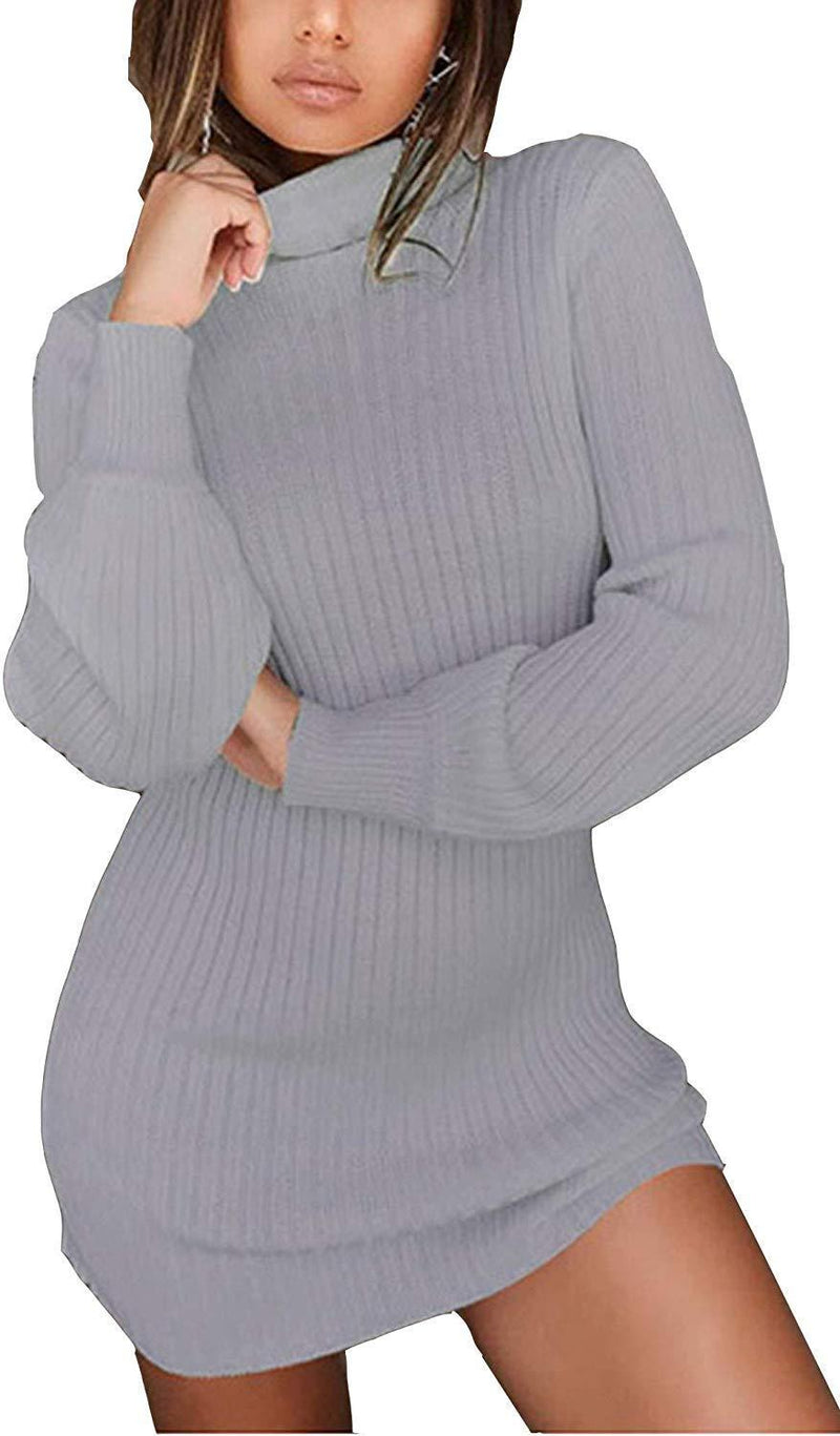 WentShopping Women Long Sleeve Cowl Neck Trim Knitted Bodycon Dresses Knitwear
