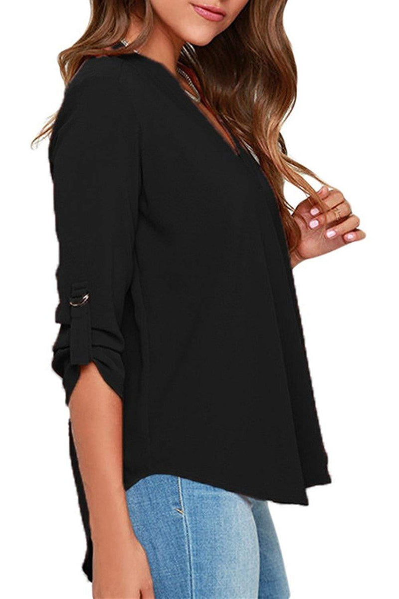 FACE N FACE Women's Summer V Neck Solid Loose Casual Cuffed Long Sleeve Blouses