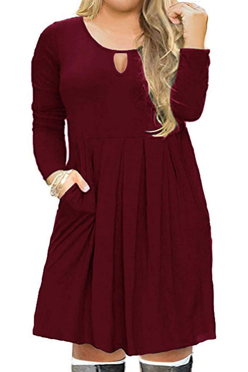 ROSE IN THE BOX Plus Size Short/Long Sleeve Casual Pleated Loose Swing T Shirt Dress with Pockets Keyhole for Travel Work