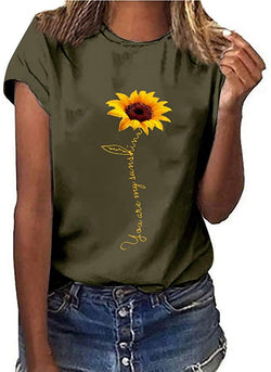Handyulong Womens T-Shirts Teen Girls Casual Short Sleeve Crew Neck Sunflower Print Loose Tunic Shirts Blouse Tops