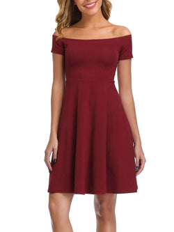DIRASS Women's Off The Shoulder Short Sleeve Flared Cocktail Skater Dress