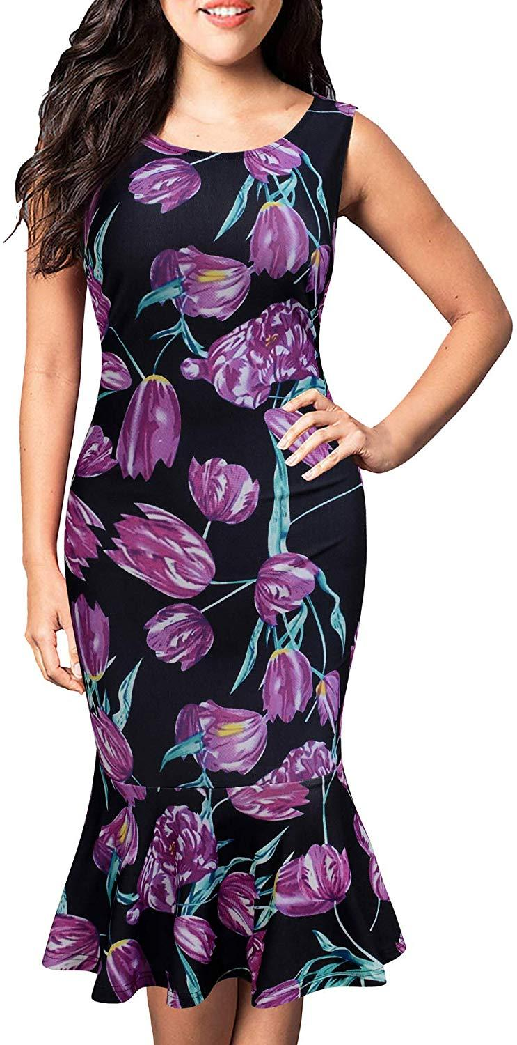 FORTRIC Women Sleeveless Fishtail Floral Summer Work Bodycon Party Office Dress