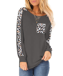 Tsun Women Casual Long Sleeve Scoop Neck Leopard Print Shirt Blouse Tops Tunics with Pocket
