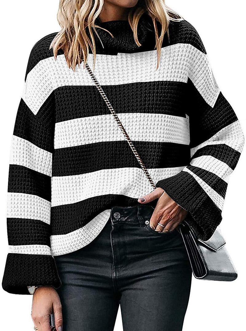 Women Casual Sweaters Long Sleeve Turtleneck Color Block Striped Oversized Loose Knitted Pullover Tops