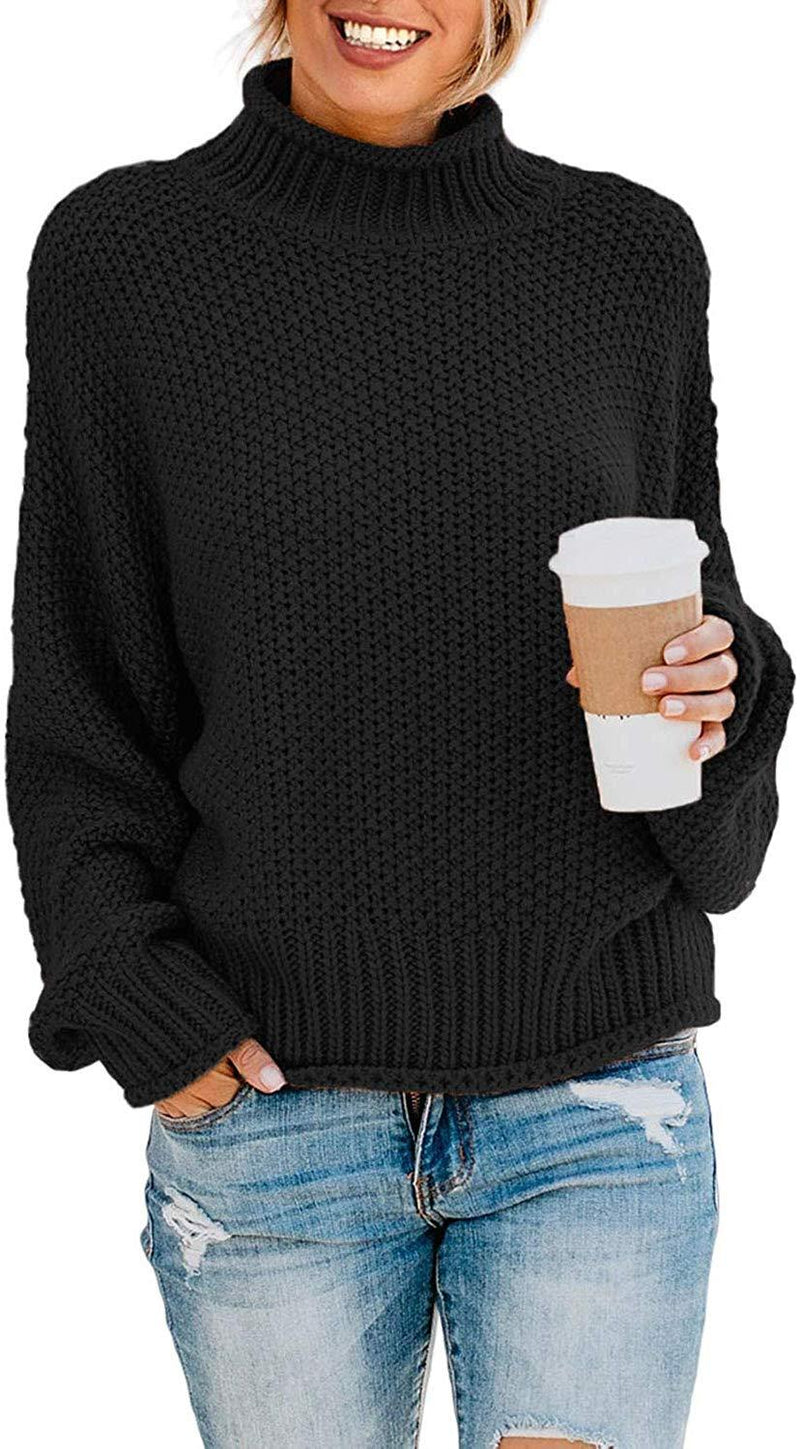 ZKESS Womens Casual Long Sleeve Turtleneck Chunky Knit Pullover Sweater Jumper Tops