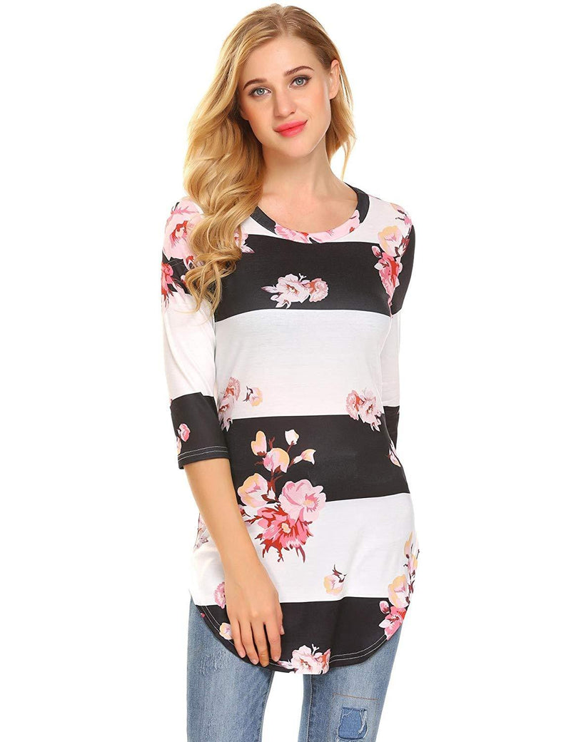 Showyoo Women's Floral Print 3/4 Sleeve T Shirts Casual Tunic Blouse Tops