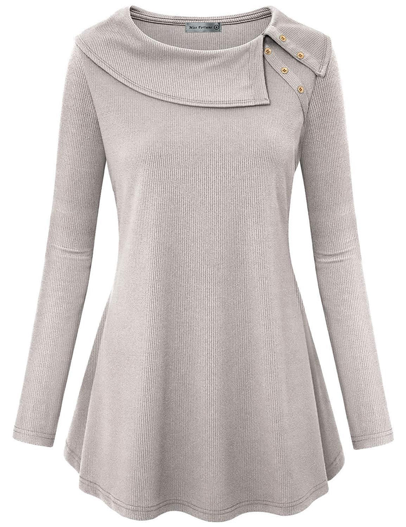 MISS FORTUNE Women Long Sleeve Cowl Neck Flowy Tunic Top with Pockets