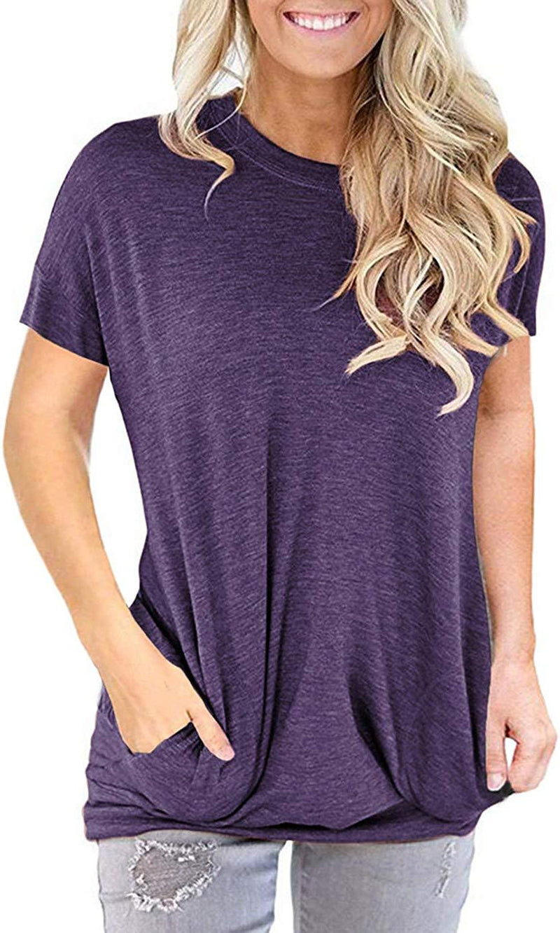 onlypuff Pocket Shirts for Women Casual Loose Fit Tunic Top Baggy Comfy Blouse 1
