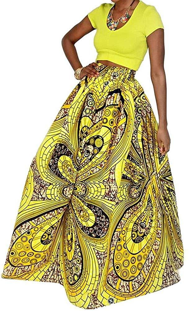 Eshoono Womens African Floral Maxi Dress High Waist A Line Long Skirts with Pockets