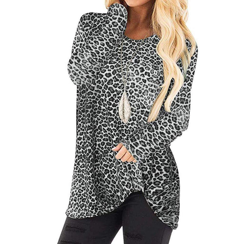 Pandaie Women's Casual T Shirts Twist Knot Leopard Print Tunics Tops Round Neck Long Sleeve Blouse