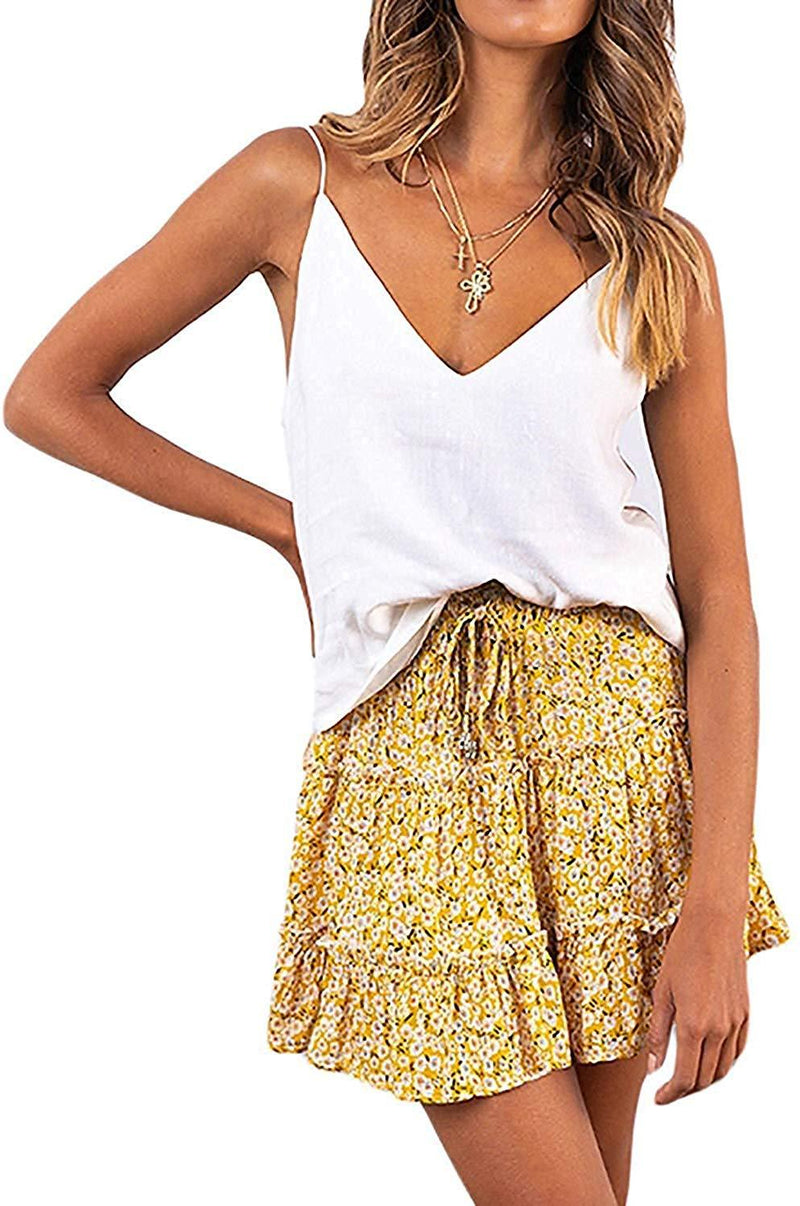 Arjungo Women's Floral High Waist Drawstring Ruffle Flared Boho A-Line Pleated Skater Mini Skirt